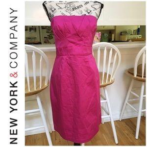 🆕 New York & Co. Fuchsia Strapless Dress Size 10